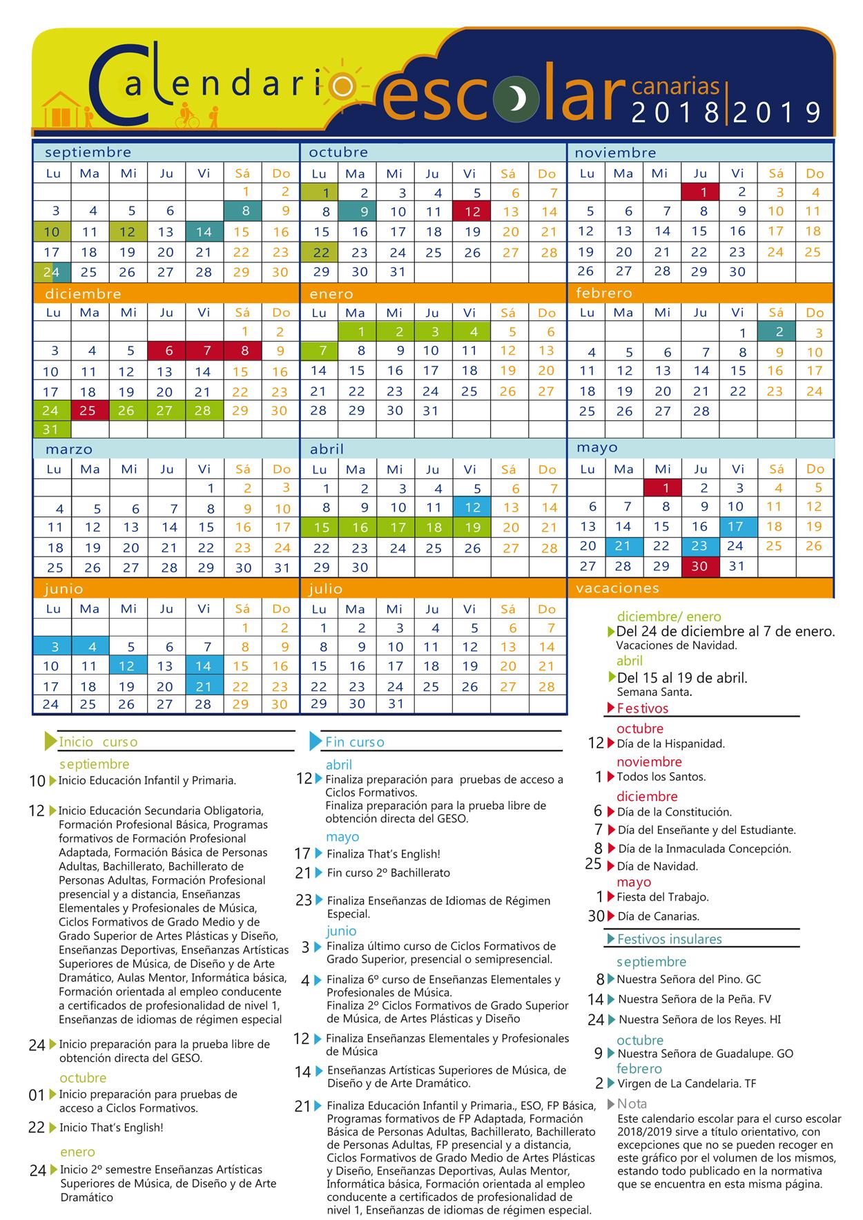 Calendario Escolar 2020 Las Palmas.Calendario Escolar 2019 2020