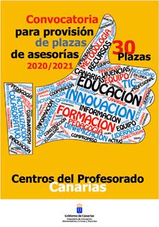 Cartel de la convocatoria de plazas para asesorías de los Centros del Profesorado 2021.
