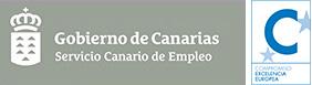 Escudo del Servicio Canario de Empleo con el sello de Compromiso Excelencia Europea